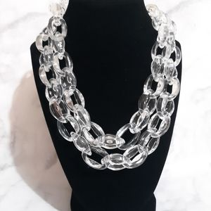 Joan Rivers clear acrylic chain link necklace